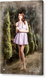 Beautiful Retro Maid With Hedge Clippers In Garden Acrylic Print by Jorgo Photography - Wall Art Gallery