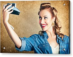 Beautiful Retro Woman Taking Selfie With Camera Acrylic Print by Jorgo Photography - Wall Art Gallery