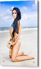Beautiful Woman At Seaside Acrylic Print