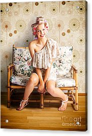 Beautiful Woman Getting New Hair Style At Salon Acrylic Print by Jorgo Photography - Wall Art Gallery