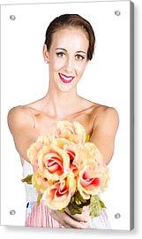 Beautiful Woman Holding Florist Flowers Acrylic Print