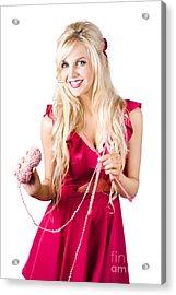 Beautiful Woman Knitting Acrylic Print by Jorgo Photography - Wall Art Gallery