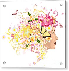 Beautiful Woman With Hair Made Of Flowers Acrylic Print