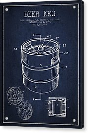 Beer Keg Patent Drawing - Green Acrylic Print by Aged Pixel