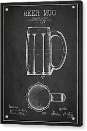 Beer Mug Patent From 1876 - Dark Acrylic Print by Aged Pixel