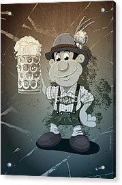 Beer Stein Lederhosen Oktoberfest Cartoon Man Grunge Monochrome Acrylic Print by Frank Ramspott