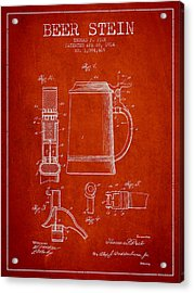 Beer Stein Patent From 1914 - Red Acrylic Print