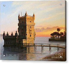 Belem Tower In Lisbon Acrylic Print by Kiril Stanchev