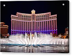 Bellagio Hotel And Casino At Night Acrylic Print by Jamie Pham