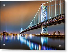 Ben Franklin Bridge And Philadelphia Skyline By Night Acrylic Print