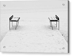 Benches On A Dock Acrylic Print