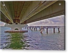 Acrylic Print featuring the photograph Beneath Sanibel Bridge by Timothy Lowry