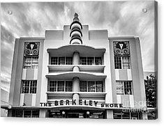 Berkeley Shores Hotel  2 - South Beach - Miami - Florida - Black And White Acrylic Print
