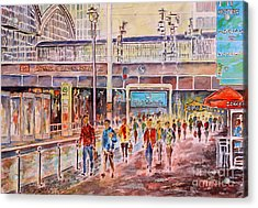 Acrylic Print featuring the painting Berlin Frederic Street Station by Alfred Motzer