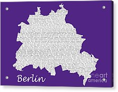 Berlin Map Typgraphy Acrylic Print