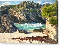 Bermuda Hidden Beach Acrylic Print by Verena Matthew