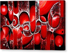 Best Art Choice Award Original Abstract Oil Painting Modern Red Contemporary House Wall Deco Gallery Acrylic Print by Emma Lambert