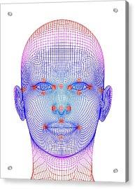 Biometric Facial Map Acrylic Print by Alfred Pasieka