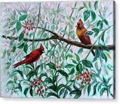 Birds In Our Garden Acrylic Print