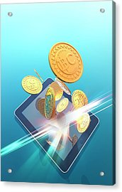 Bitcoins And Digital Tablet Acrylic Print by Victor Habbick Visions
