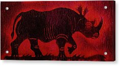 Acrylic Print featuring the pyrography Black Rhino by Larry Campbell