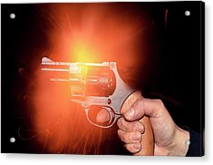 Blank-firing Revolver Acrylic Print by Crown Copyright/health & Safety Laboratory Science Photo Library