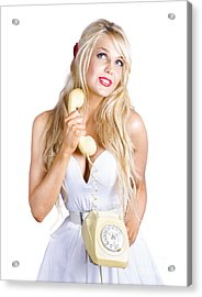 Blond Lady On Old-fashion Telephone Communication Acrylic Print by Jorgo Photography - Wall Art Gallery