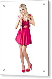 Blond Woman Making Love Heart Acrylic Print