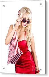 Blond Woman Shopping Acrylic Print by Jorgo Photography - Wall Art Gallery