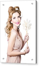 Blonde Girl Holding Windmill Fan. Natural Energy Acrylic Print by Jorgo Photography - Wall Art Gallery