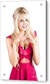 Blonde Woman Making Heart Shape Acrylic Print