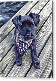 Black Dog On Pier Acrylic Print