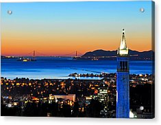 Blue Campanile And Golden Gate At Sunset Acrylic Print