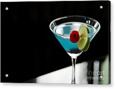 Blue Cocktail Drink With Cherry And Lime Acrylic Print