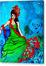 Acrylic Print featuring the painting Blue Compliments by Angelique Bowman