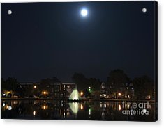 Acrylic Print featuring the digital art Blue Moon Over Fountain Lake by Kelvin Booker