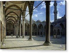Blue Mosque Courtyard Acrylic Print by Joan Carroll
