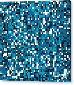 Acrylic Print featuring the digital art Blue Pixel Art by Mike Taylor