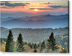 Blue Ridge Mountains Sunset Acrylic Print by Mary Anne Baker