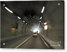 Blurred Motion In A Road Tunnel Acrylic Print by Sami Sarkis