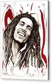 Bob Marley Colour Drawing Art Poster Acrylic Print by Kim Wang