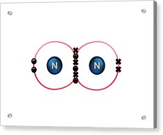Bond Formation In Nitrogen Molecule Acrylic Print by Animate4.com/science Photo Libary