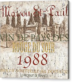 Bordeaux Blanc Label 1 Acrylic Print