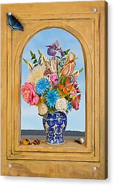 Acrylic Print featuring the photograph Bosschaert - Flower Bouquet In Chinese Jar by Levin Rodriguez