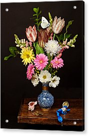 Acrylic Print featuring the photograph Bosschaert - Flower Bouquet In Chinese Pot by Levin Rodriguez