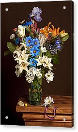 Acrylic Print featuring the photograph Bosschaert -flower Bouquet In Vase With Watch by Levin Rodriguez