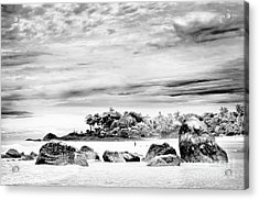 Boulders On The Beach Acrylic Print by William Voon