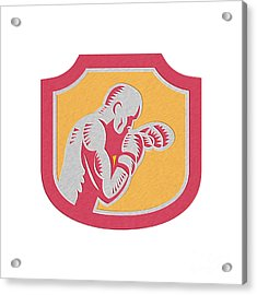 Boxer Boxing Jabbing Punch Side Shield Retro Acrylic Print by Aloysius Patrimonio