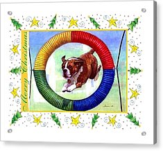 Boxer Dog Christmas Acrylic Print by Olde Time  Mercantile