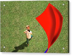Boy Flying A Kite Acrylic Print